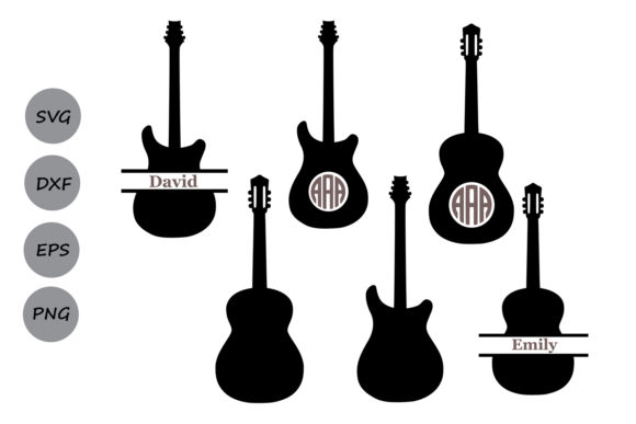 Download Free Guitar Monogram Graphic By Cosmosfineart Creative Fabrica for Cricut Explore, Silhouette and other cutting machines.