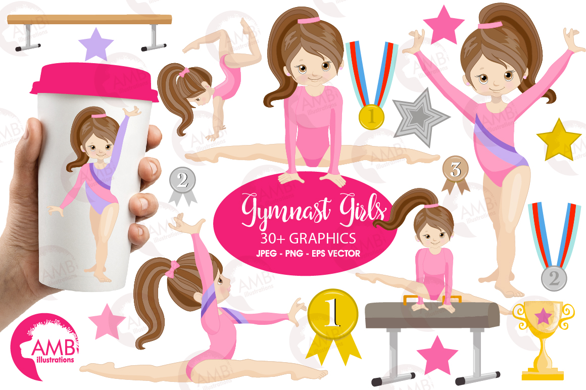 Download Free Gymnastic Girls Graphic By Ambillustrations Creative Fabrica for Cricut Explore, Silhouette and other cutting machines.