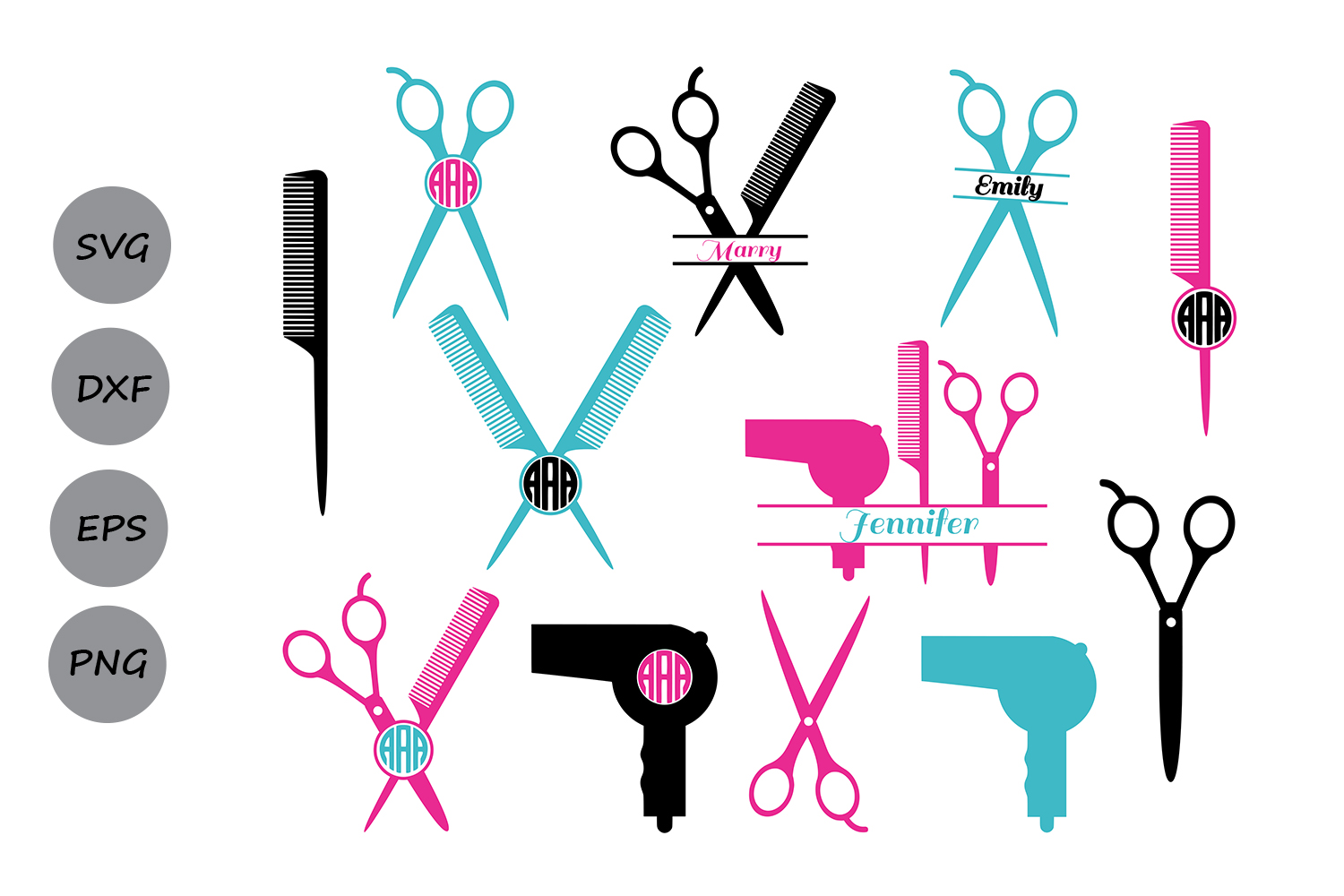 Download Free Hairdresser Monogram Graphic By Cosmosfineart Creative Fabrica for Cricut Explore, Silhouette and other cutting machines.