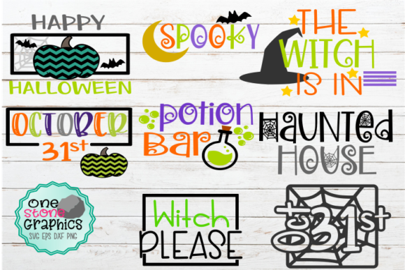 Spooky Halloween Sign Bundle Potion Bar Graphic Crafts By OneStoneGraphics - Image 1