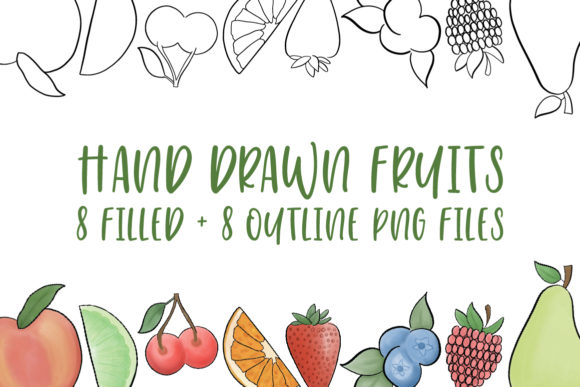 Hand Drawn Fruit Illustrations Grafik Illustrationen von jordynalisondesigns