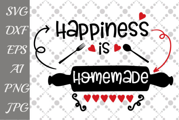 Download Free Happiness Is Homemade Svg Graphic By Prettydesignstudio for Cricut Explore, Silhouette and other cutting machines.