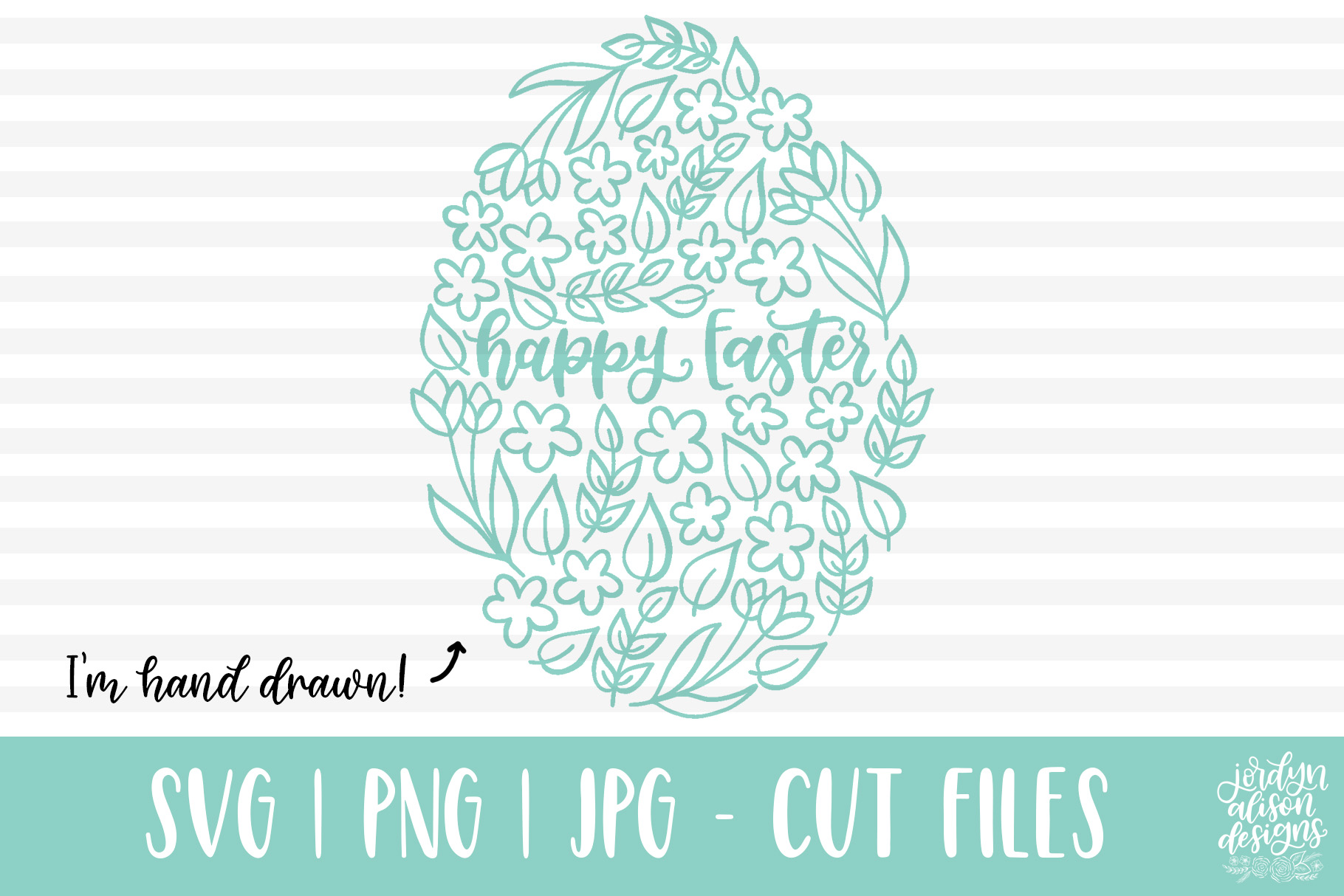 Download Free Happy Easter Floral Egg Svg Graphic By Jordynalisondesigns for Cricut Explore, Silhouette and other cutting machines.
