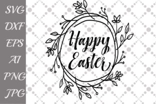 Download Free Happy Easter Wreath Grafico Por Prettydesignstudio Creative for Cricut Explore, Silhouette and other cutting machines.