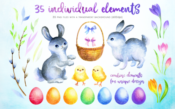 Print on Demand: Happy Easter Watercolor Clip Arts Graphic Illustrations By Olga Belova - Image 2