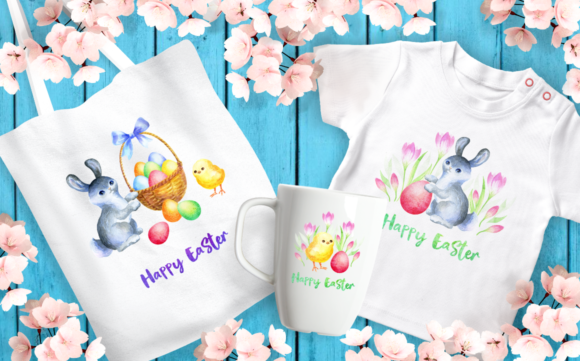 Print on Demand: Happy Easter Watercolor Clip Arts Graphic Illustrations By Olga Belova - Image 3