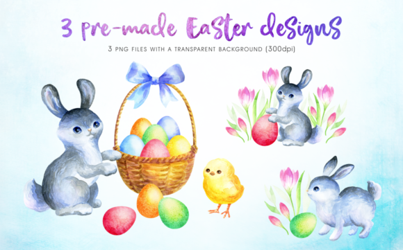 Print on Demand: Happy Easter Watercolor Clip Arts Graphic Illustrations By Olga Belova - Image 4