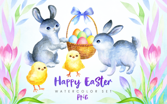 Print on Demand: Happy Easter Watercolor Clip Arts Graphic Illustrations By Olga Belova