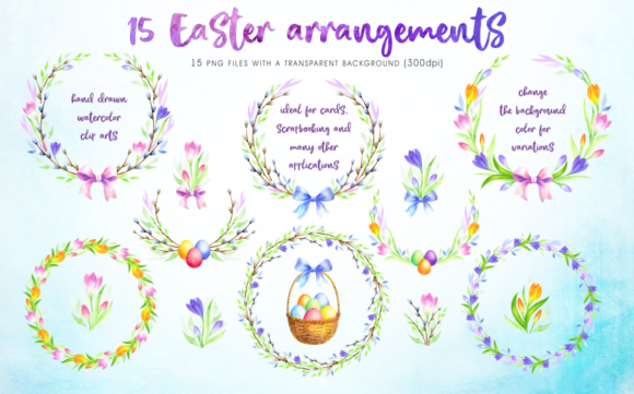 Print on Demand: Happy Easter Watercolor Clip Arts Graphic Illustrations By Olga Belova - Image 7