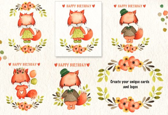 Print on Demand: Happy Foxes Watercolor Collection Graphic Illustrations By tanatadesign - Image 2