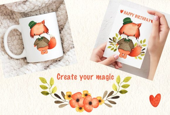 Print on Demand: Happy Foxes Watercolor Collection Graphic Illustrations By tanatadesign - Image 3