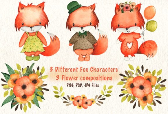 Print on Demand: Happy Foxes Watercolor Collection Graphic Illustrations By tanatadesign - Image 4