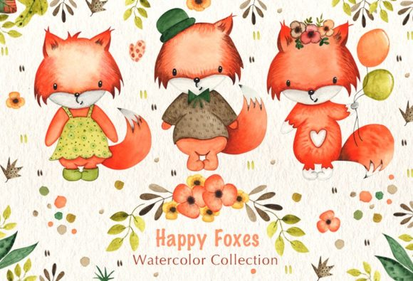 Print on Demand: Happy Foxes Watercolor Collection Graphic Illustrations By tanatadesign