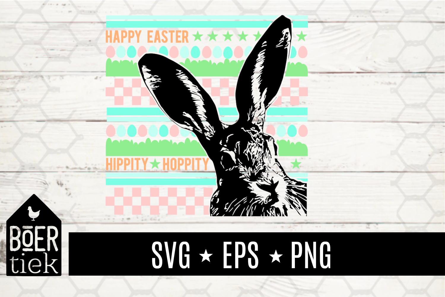 Download Free Happy Easter Bunny Graphic By Boertiek Creative Fabrica for Cricut Explore, Silhouette and other cutting machines.