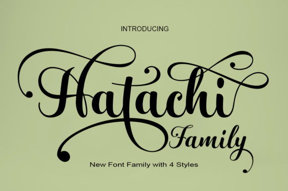 Print on Demand: Hatachi Family Script & Handwritten Font By art design - Image 1