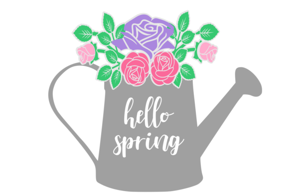 Download Free Hello Spring Watering Can Digital Svg Graphic By Auntie for Cricut Explore, Silhouette and other cutting machines.