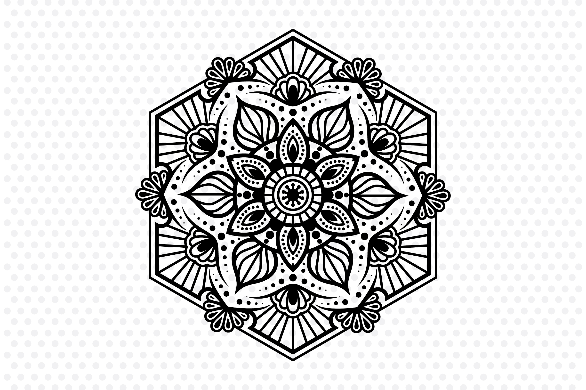 Download Free Hexa Mandala Graphic By Izacuite Creative Fabrica for Cricut Explore, Silhouette and other cutting machines.