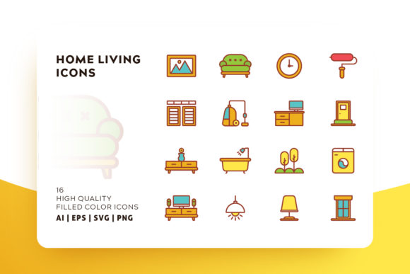 Print on Demand: Home Living Filled Color Icon Pack Graphic Icons By Goodware.Std