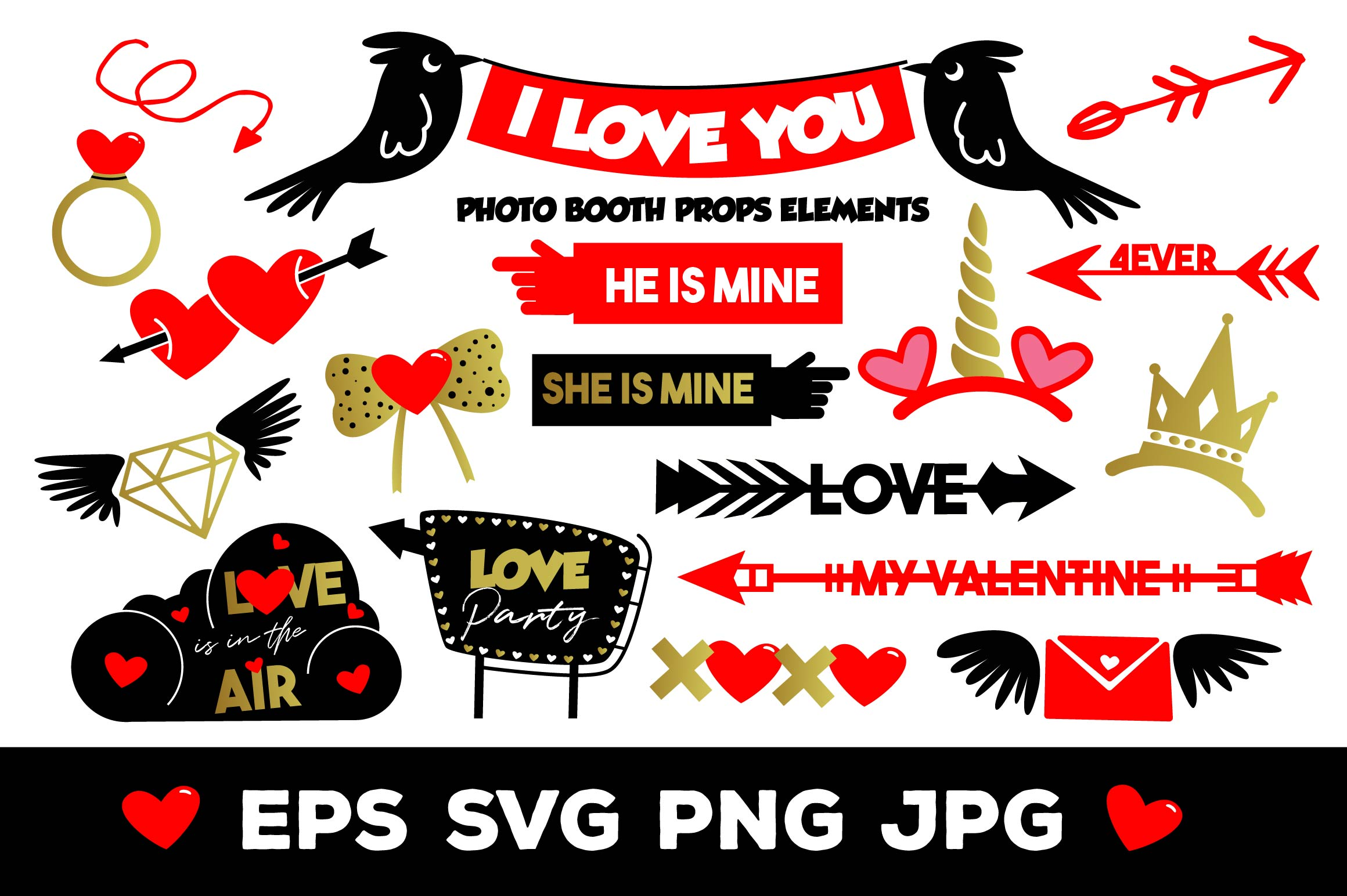 Download Free I Love You Photo Booth Props Elements Grafico Por for Cricut Explore, Silhouette and other cutting machines.