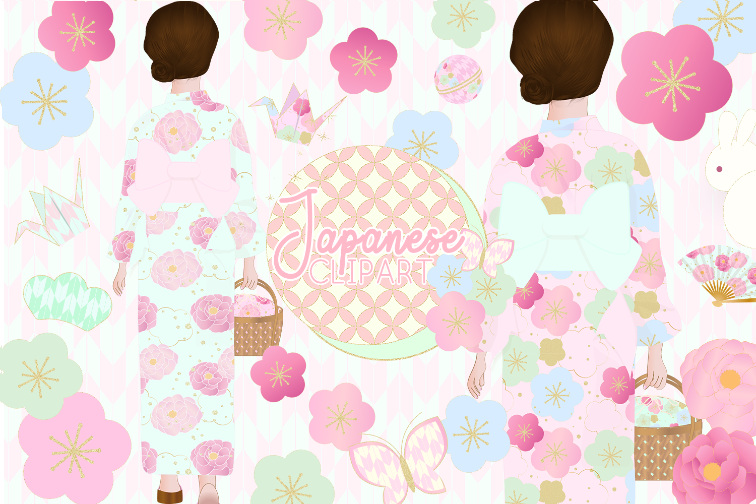 Download Free Japanese Kimono Girl Clipart Graphic By Lilyuri0205 Creative for Cricut Explore, Silhouette and other cutting machines.