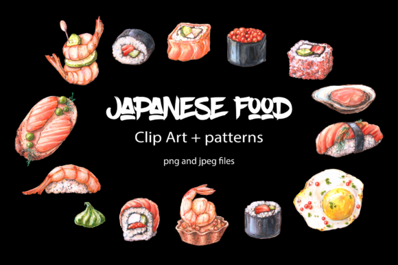 Print on Demand: Japanese Food – Clip Art Graphic Illustrations By nicjulia
