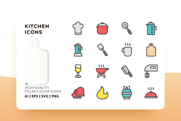 Print on Demand: Kitchen Filled Icon Pack Graphic Icons By Goodware.Std