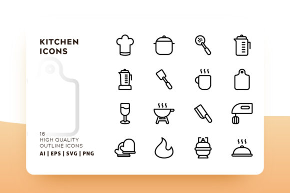 Print on Demand: Kitchen Outline Icon Pack Graphic Icons By Goodware.Std