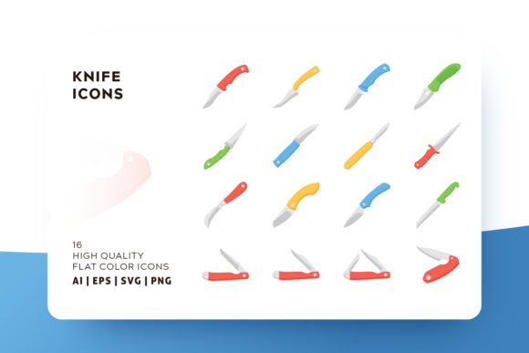Print on Demand: Knife Flat Icon Pack Graphic Icons By Goodware.Std