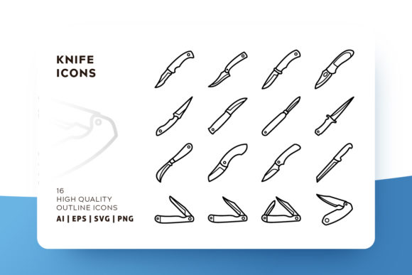 Print on Demand: Knife Outline Icon Pack Graphic Icons By Goodware.Std - Image 1