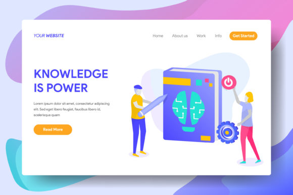 Knowledge is Power Graphic Landing Page Templates By Twiri