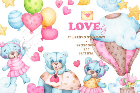 LOVEly Watercolor Collection Graphic By tatianatroian.art Image 1