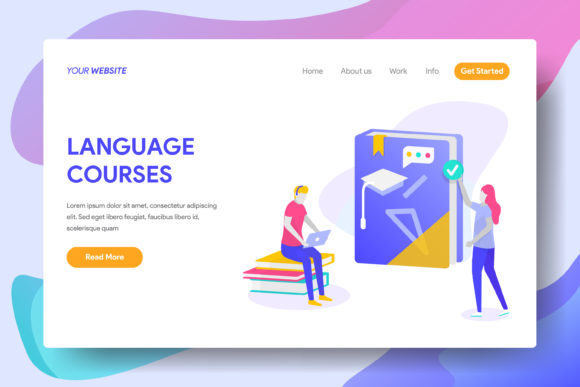 Language Courses Graphic Landing Page Templates By Twiri
