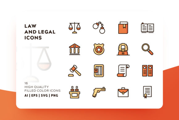 Print on Demand: Law and Legal Icon Pack Graphic Icons By Goodware.Std