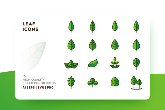 Print on Demand: Leaf Filled Color Icon Pack Graphic Icons By Goodware.Std