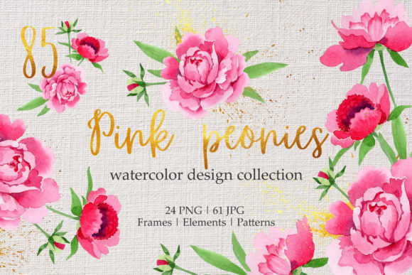 Print on Demand: Legendary Pink Peonies Watercolor Png Graphic Illustrations By MyStocks