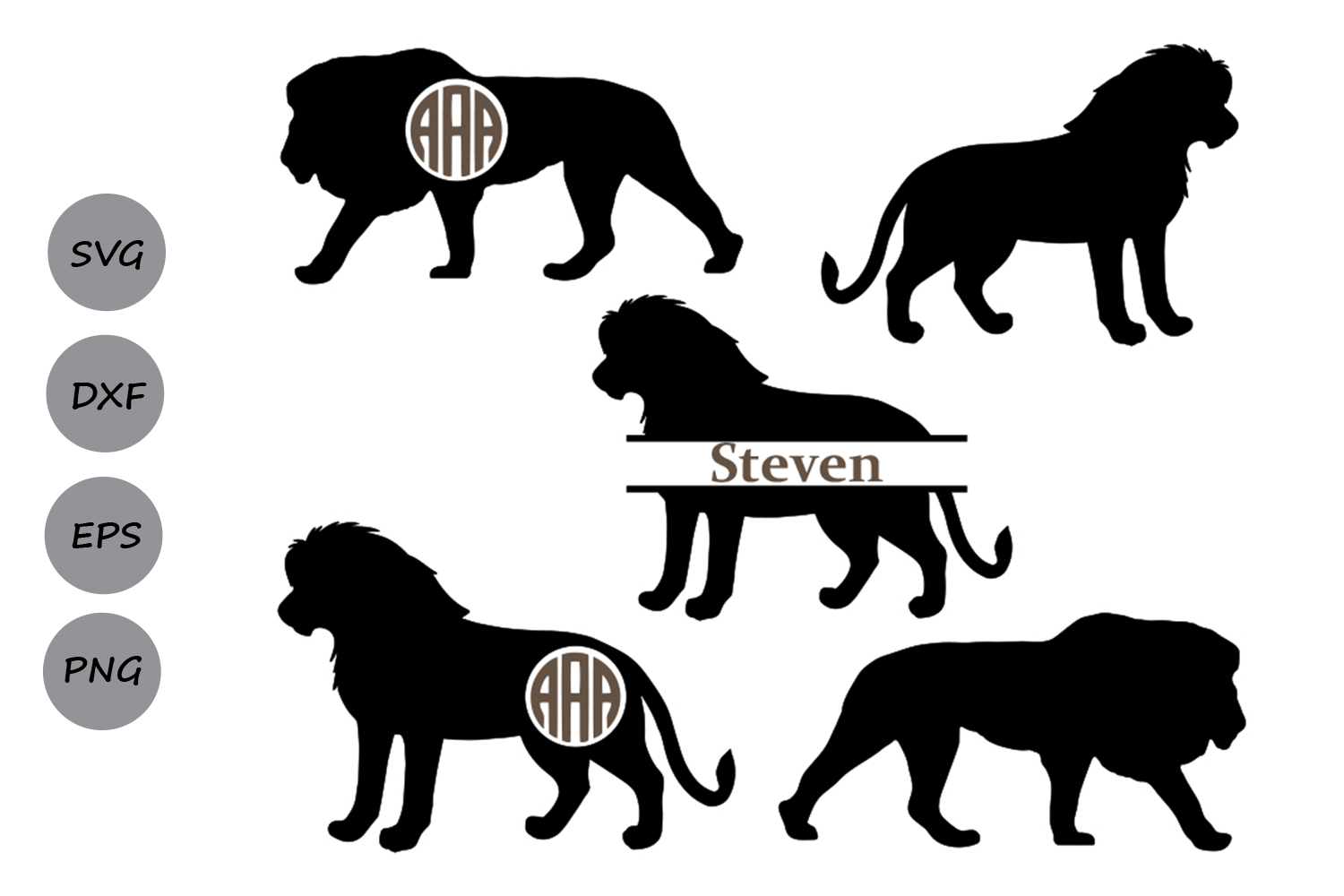 Download Free Lion Monogram Graphic By Cosmosfineart Creative Fabrica for Cricut Explore, Silhouette and other cutting machines.