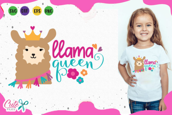 Llama Queen Graphic Illustrations By Cute files