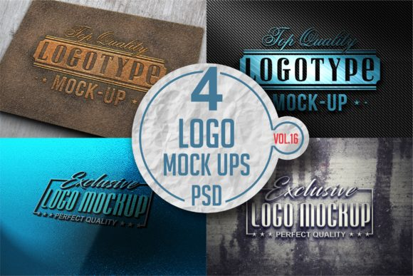 Print on Demand: Logo Mock-up Pack 16 Gráfico Mockups de Productos Por bywahtung