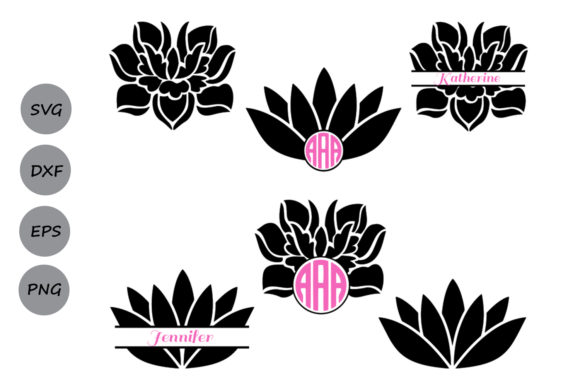 Download Free Lotus Monogram Graphic By Cosmosfineart Creative Fabrica for Cricut Explore, Silhouette and other cutting machines.