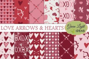 Love, Arrows and Hearts Digital Papers Graphic By GreenLightIdeas