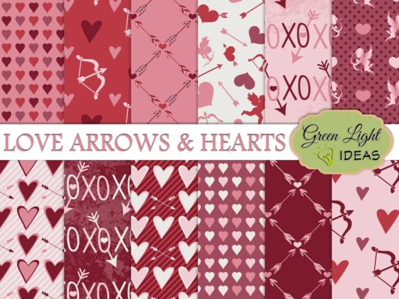 Love, Arrows and Hearts Digital Papers Graphic Backgrounds By GreenLightIdeas