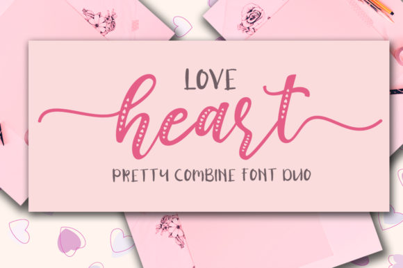 Print on Demand: Love Heart Duo Script & Handwritten Font By Haksen