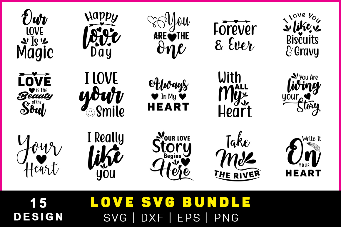 Download Free The Valentine Love Quote Pack Graphic By Handmade Studio Creative Fabrica for Cricut Explore, Silhouette and other cutting machines.