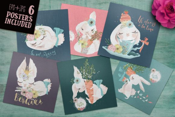 Download Free Lovely Bunnies Collection Grafico Por Anna Babich Creative Fabrica for Cricut Explore, Silhouette and other cutting machines.