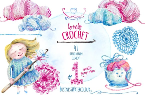 Lovely Crocheting Clipart Graphic Illustrations By ramandu
