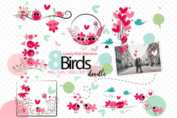 Print on Demand: Lovely Pink Valentine Doodle Birds Graphic Illustrations By 3Motional - Image 1