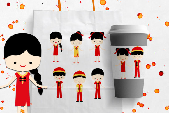 Download Free Lunar New Year Chinese Children Graphic By Revidevi Creative for Cricut Explore, Silhouette and other cutting machines.