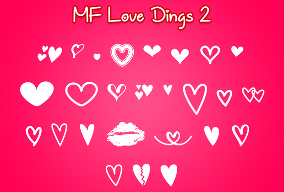Print on Demand: MF Love Dings 2 Dingbats Font By Misti