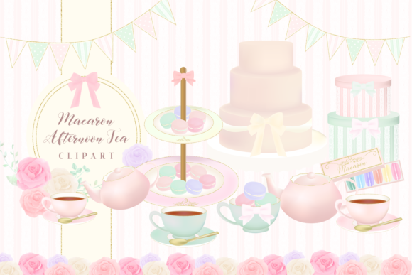 Print on Demand: Macaron Afternoon Tea Party Cliparts Graphic Illustrations By lilyuri0205