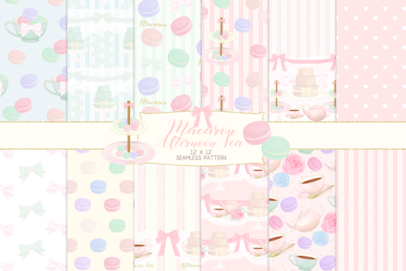Print on Demand: Macron Afternoon Tea Party Pattern Graphic Patterns By lilyuri0205